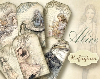 Alice in Wonderland Tags, Digital Collage Sheet, Instant Download,printable images
