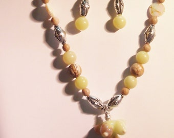 Lampwork Goddess pendant necklace and earrings