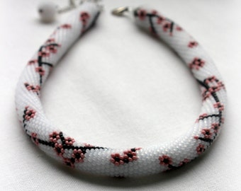 SAKURA *Necklace *Gorgeous beaded necklace with pattern of pink sakura blossoms