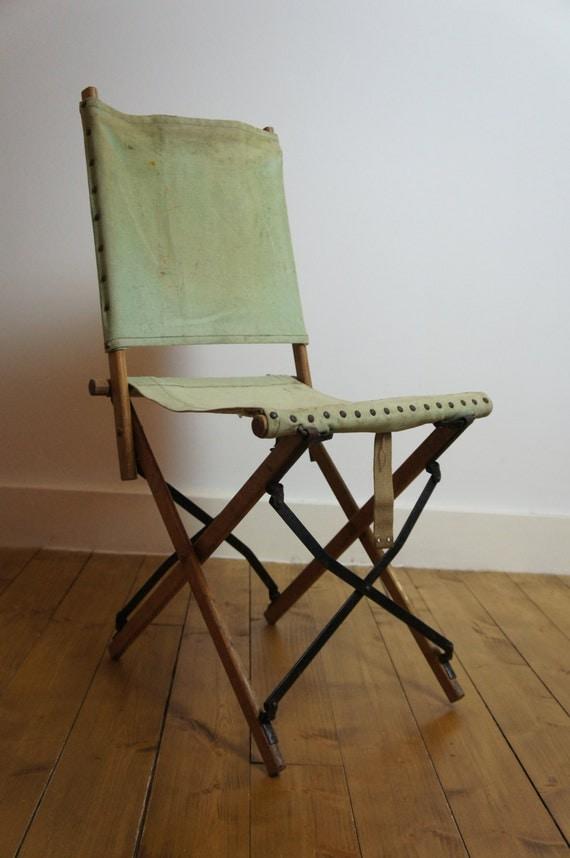 Vintage RAF WW2 ficer Folding Canvas Chair British Army