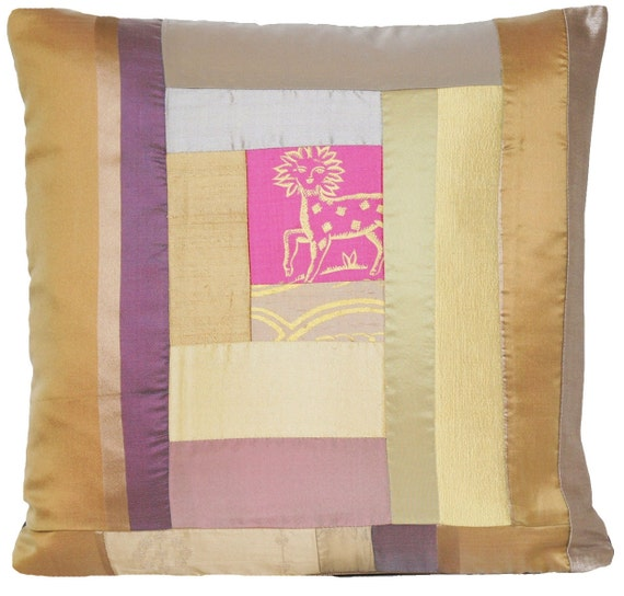 Unique Decorative Pillow Throw Case Gold And Pink Cushion