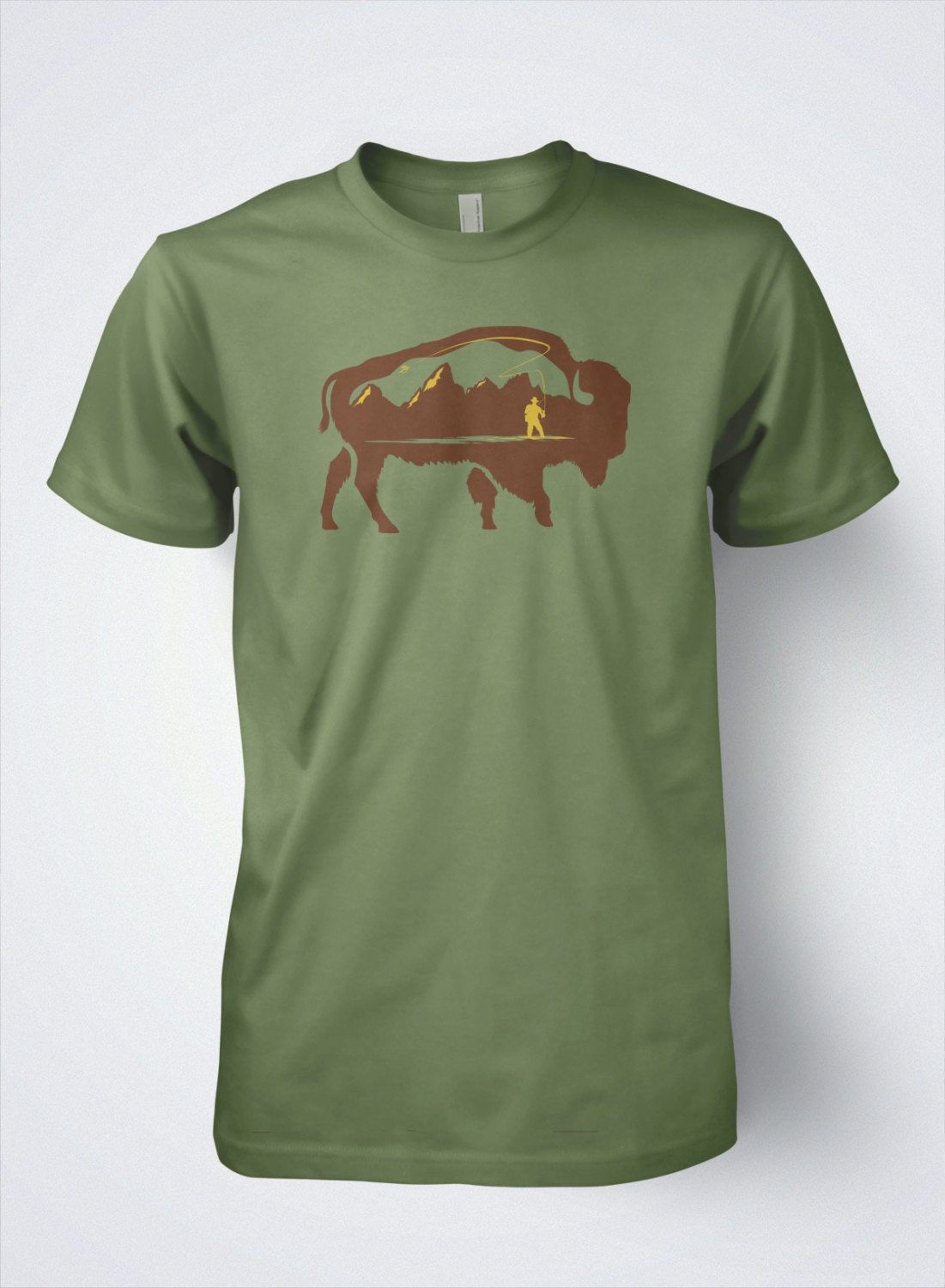 Fly fishing t shirt grand buffalo by dead drift fly fishing for T shirt design store near me