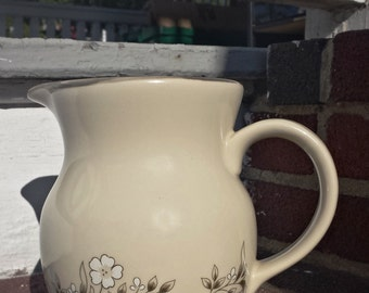 Vintage Newcor Stoneware Pitcher Candlelight Pattern #648 1980's Ceramic Japan