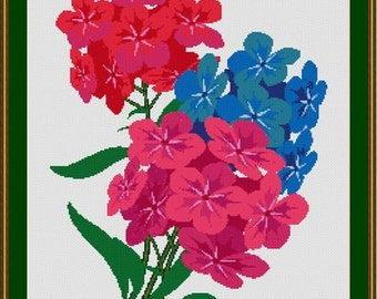 Hydrangea Bunch of  Flowers Counted Cross Stitch Pattern in PDF for Instant Download
