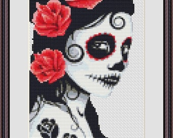 Day of the Dead Princess Bride Counted Cross Stitch Pattern in PDF for Instant Download