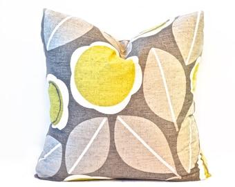 Floral pillow cover - Beige pillow - Citron and Taupe pillow - Modern pillow - Yellow pillow - Decorative pillow