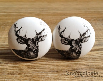 SET OF 2 - White and Black Deer Antler Knob - Nature Buck Forest Theme Decorative Drawer Pull - Hunter Baby Boy Nursery - Mancave Knobs