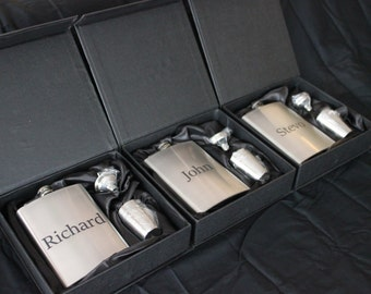 Set of 3 - Engraved stainless steel flask set - groomsmen gift- christmas gift- valentines gift