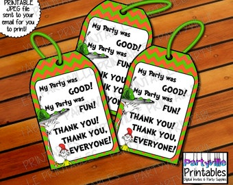 Dr. Seuss Favor Tags Gift Tags Goodie Bag Tags Sam I am Green eggs and ham Food Tags Dr. Seuss inspired Cat in the hat