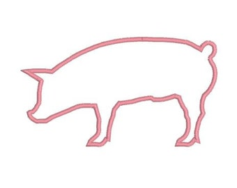 Embroidery Applique Show Pig Profile Design File