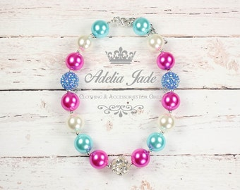 Pink Chunky Necklace, Chunky Bubblegum Necklace, Girls Chunky Necklace, Chunky Toddler Necklace, Bubble Gum Necklace, Chunky Baby Necklace