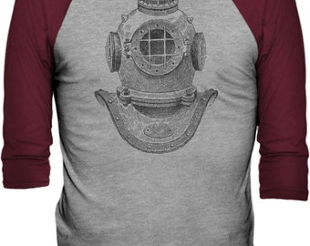 Deep Sea Diver Helmet (Black) - 3/4 Sleeve Baseball T-Shirt (Sizes: XS - 2XL)
