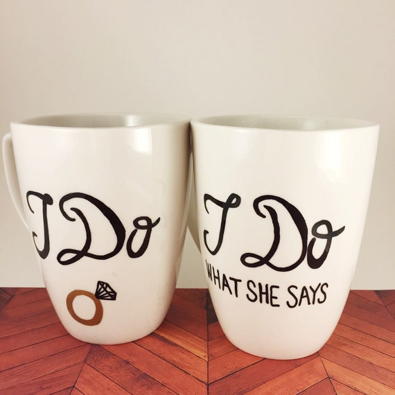 Wedding Gift Ideas For Couples Not Registered : What She Says Coffee Mugs, Unique Wedding Gifts For Couples, Couples ...