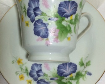 Vintage Tea Cup and Saucer with blue morning glories