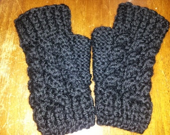 knitted fingerless gloves teen to adult cabled black, maroon, off white