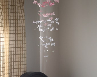 Pink Ombre Butterfly Mobile Paper Butterfly Chandelier Mobile Baby Girl Mobile Shower Decor Wedding Reception Decor Birthday Party Decor
