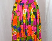 60s Hawaiian Dress Cullottes Maxi Summer Bright Print