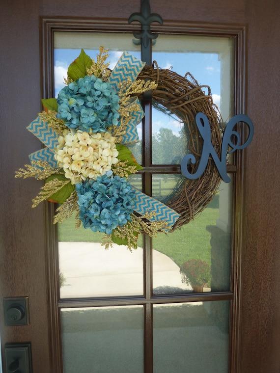 Monogram Grapevine Wreath With Burlap Rustic Monogram Wreath