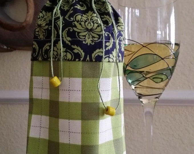 Wine Bag-Deluxe-Fleur-de-lis Collection (Blue n' Green Plaid)