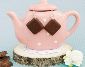 Ritter Sport Milk Chocolate Handmade Polymer Clay Adorable Earrings