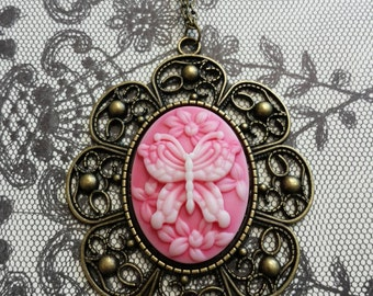 Vintage Inspired Victorian Pink Butterfly Cameo Necklace