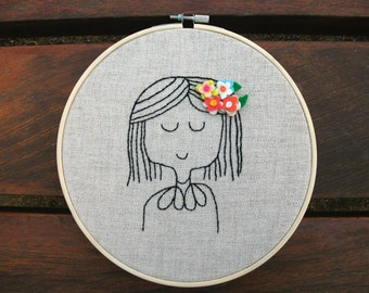 The Flower Girl Embroidery Hoop Art -  Embroidery Hoop Art - Cute embroidery hoop art - Nursery Embroidery Hoop Art - MADE TO ORDER
