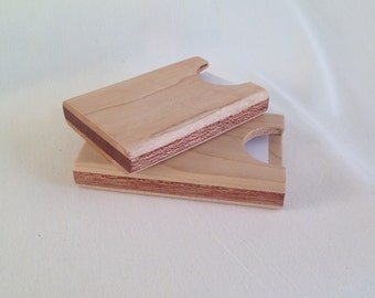 Wooden business card holder handmade from maple, walnut, cherry