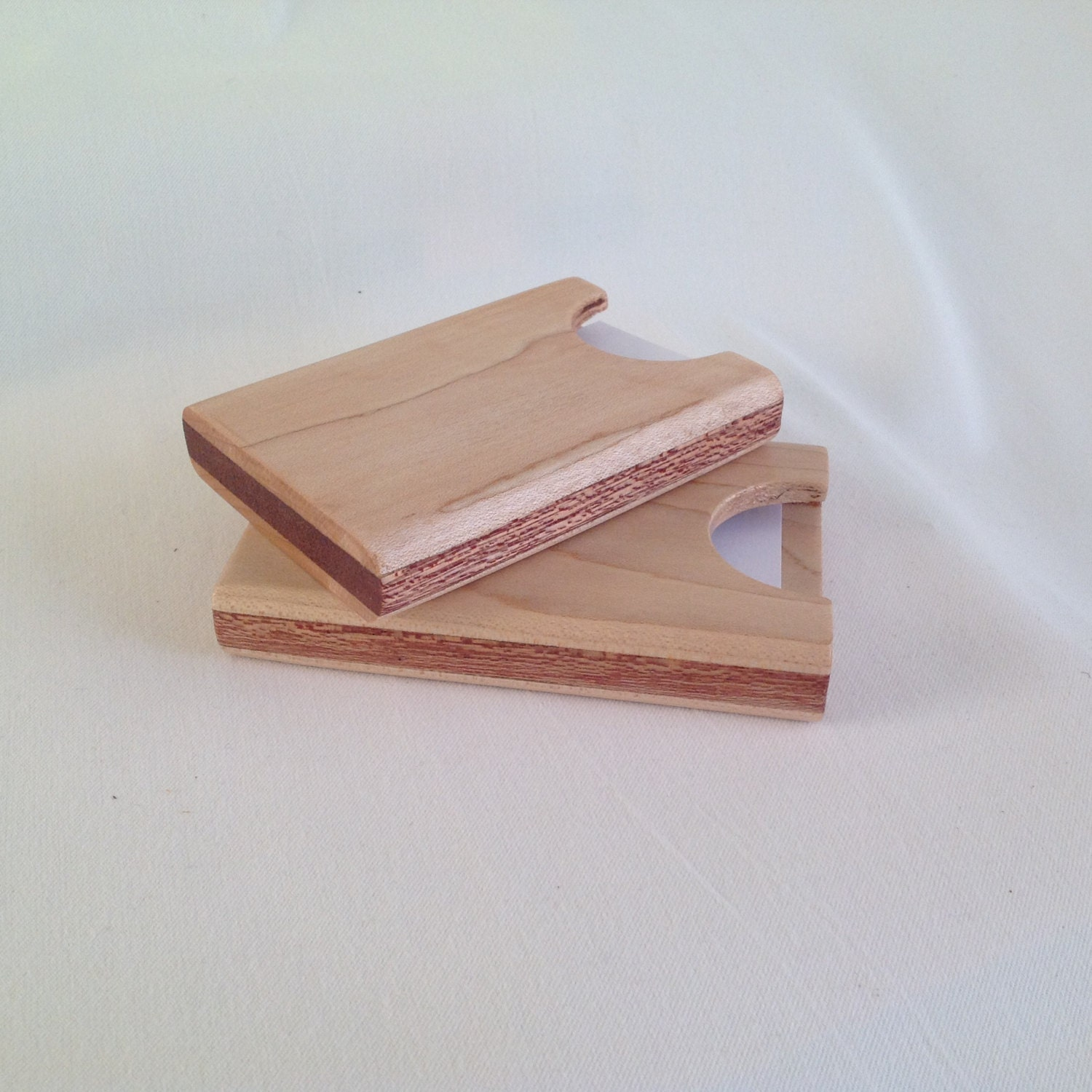 Wooden business card holder handmade from maple by AikiCrafts