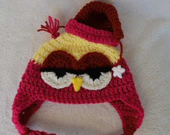 Crochet Drowsy Owl Hat