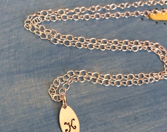 Personalized Handstamped Sterling Silver Initial Necklace