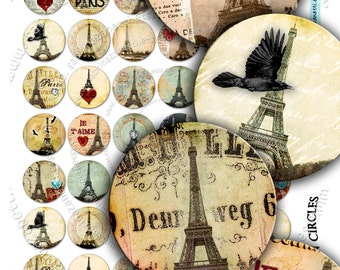 EIFFEL IN CIRCLE Digital Collage Sheet 1 inch size circle images for pendants bottlecaps bezel settings paper craft downloads - tn158