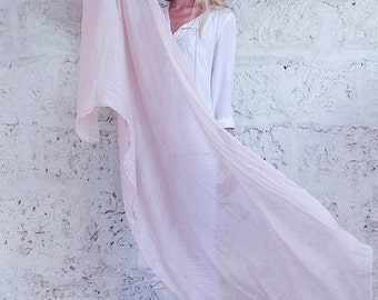 Extra Long Scarf, Light Peach Cotton Scarf, Semi Sheer Wrap Scarf Spring Summer Scarf, Perfect Gift For Women