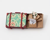 Personalized Mother's Day Gift/ Card Suitcase Miniature with Bouquet of Roses/Gift box/ Blue Vintage Pattern
