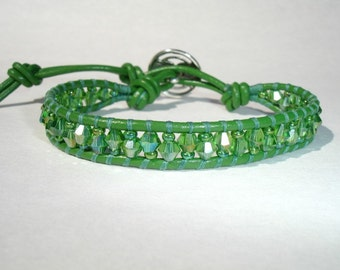 SALE - Leather Beaded Single Wrap Bracelet - Green Leather - Green Crystals - Seed Beads - Silver Button - FREE SHIPPING  - Gift For Her
