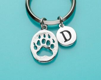 Bear Paw Print Keychain, Bear Paw Print Key Ring, Initial Keychain, Personalized Keychain, Custom Keychain, Charm Keychain, 40