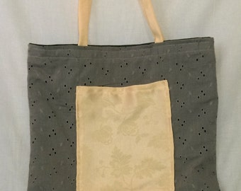 Recycled fabric tote bag