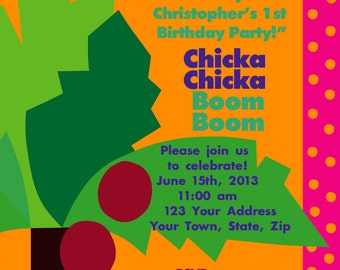 Customized Printable Chicka Chicka Boom Boom Invitation for Birthday/Baby Shower