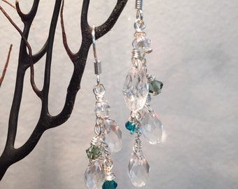 Cascading Swarovski crystals green dangle earrings, Spring fling, silver plated
