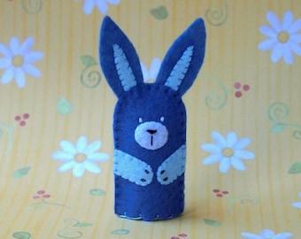 Blue Bunny Finger Puppet - Felt Bunny Rabbit Puppet - Felt Finger Puppet Bunny