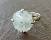 Solar Quartz Stalactite Geode Clutched Ring Matte Sterling Ring Druzy Ring 7