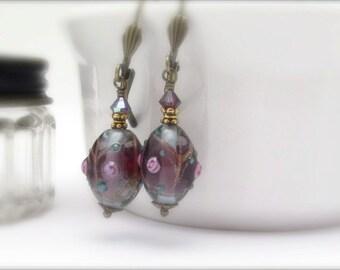 Lampwork Earrings, Boho Design Purple Earrings, Bohemian Style Dangles with Swarovski Crystals, Vintage Czech Lampwork Glass Beads
