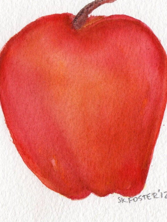 Apple watercolor painting original, small Fruit wall art, kitchen decor, original watercolor painting 4 x 6 red apple, apple illustration