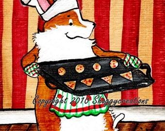 "PEMBROKE WELSH CORGI  Art Print Corgi Christmas Baking Chef  Art Print ""Christmas Cookies""  Dog Art ~ Dog Lovers Gift ~ Dog Art Print Corgi"