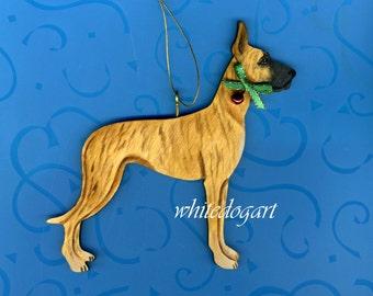 Custom Handpainted Brindle Great Dane Christmas Ornament