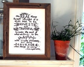 "the real things quote linoleum block print  - 11""x14"" wall art"