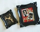 Ornate Framed Magnetic Inspiration Boards, Photo Display, Vintage Flocked Wallpaper, Black Red Gold