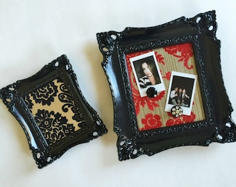 Ornate Framed Magnetic Inspiration Boards, Photo Display, Vintage Flocked Wallpaper, Black Red Gold