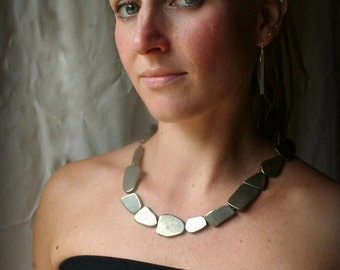 Pyrite Statement Necklace - Bib Necklace - Fools Gold - Holiday Necklace
