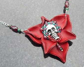 Grateful - Beaded Skull & Rose Pendant With Garnet, Emerald, Tourmaline And Sterling Silver
