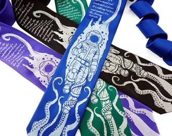20,000 Leagues Under The Sea Necktie, Fathers Day Gift, Geek Tie, Book Tie, Octopus Necktie, Jules Verne, Literary Gift, Bookworm For Him